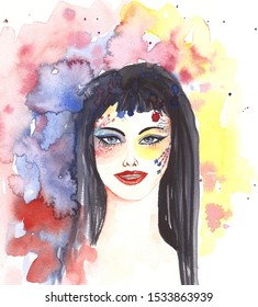 Watercolor beautiful girl portrait with painted face