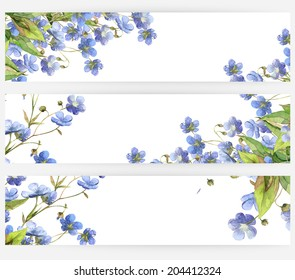 Watercolor beautiful handmade banners and frames set with blue flowers herb and grass