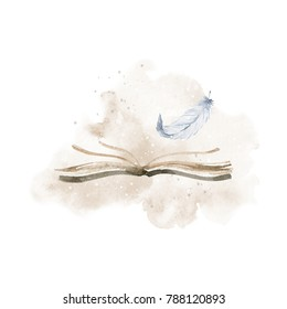Watercolor beautiful illustration. Book, white feather, watercolor stain and spray
