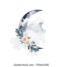 Watercolor beautiful illustration. Moon, bouquet of roses and fir branches. Element for design