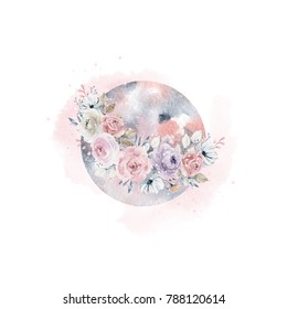 Watercolor beautiful illustration with moon in a wreath of roses