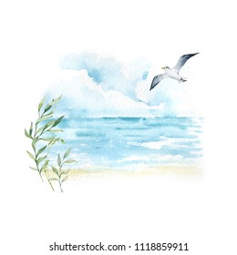 Watercolor beautiful illustration. Seascape with seagull and grass. Sea, water, landscape