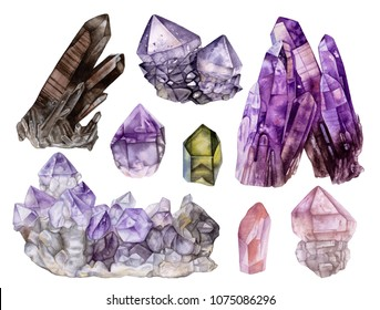 Watercolor beautiful quartz  crystal collection isolated on white  background. Smoky quartz,  pink quartz,amethyst crystals, crystal cluster.