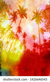 Watercolor beautiful retro tropics palm trees background see different shades. Examples for an advertising poster or web page.