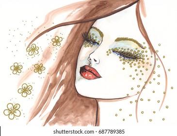 Watercolor beautiful woman portrait.
