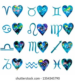 Watercolor beautiful zodiac set of 12 blue zodiac signs and 12 galaxy hearts with zodiac constellations on a white background. Isolated. Illustration.