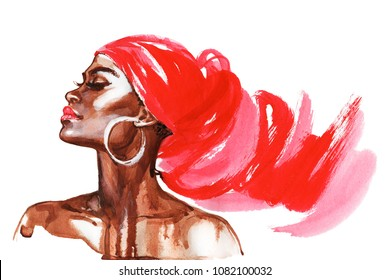 Watercolor beauty african woman. Painting fashion illustration. Hand drawn portrait of pretty girl on white background