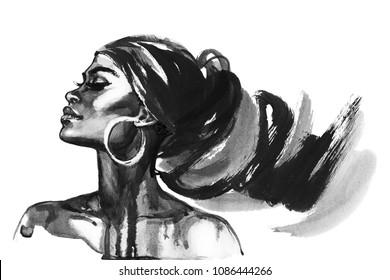 Aquarell Schönheit afrikanische Frau. Malerei Modegrafik. Handgezeichnetes Portrait eines hübschen Mädchens auf weißem Hintergrund