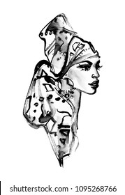 Watercolor beauty african woman with turban. Painting fashion illustration. Hand drawn portrait of pretty lady on white background