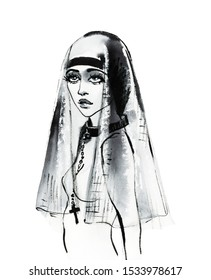Watercolor beauty holy woman, nun, sister. Painting fashion illustration. Hand drawn portrait of pretty girl on white background