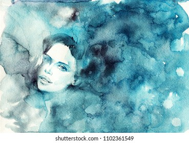Watercolor beauty portrait of woman. Hand drawn abstract fashion illustration. Painting pretty lady's face with splashes