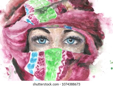 watercolor bedouin arabian girl with blue eyes