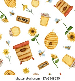 Watercolor bee seamless pattern with beehives, jars of honey; sunflowers, daisies on a white background.