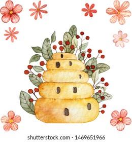 Watercolor beenive illustration with flowers in garden
