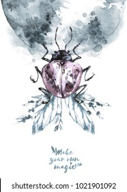 Watercolor beetle with floral wings on mistic planet. Animal, insects. Magic flight. Can be printed on T-shirts, bags, posters, invitations, cards, phone cases, pillows. Place for your text.
