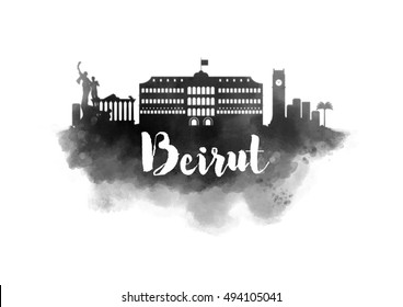 Watercolor Beirut City Skyline