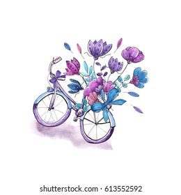 Watercolor bicycle with floral bouquet