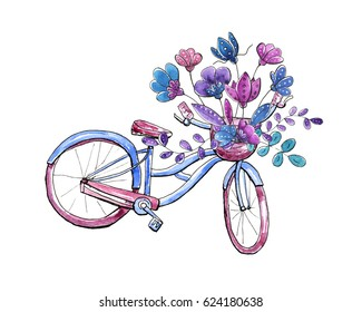 Watercolor bicycle with floral bouquet in basket.
