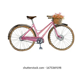 Watercolor Bicycle with flower basket