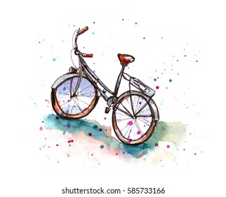 Watercolor bicycle sketch