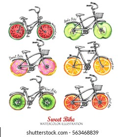 Watercolor bicycles with fresh fruits, donuts wheels. Colorful summer set. Hand drawn illustration. Delicious food. Lifestyle and sport. Good for phone case, t-shirt, card and fashion design.