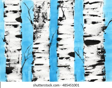 watercolor birches. background. trees.illustration.