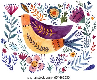 Watercolor bird and flowers