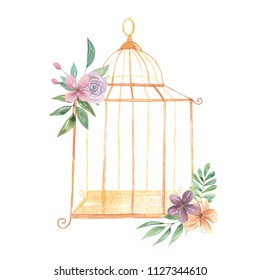 Watercolor Birdcage Flowers Gold Cages Berries