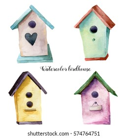 Watercolor birdhouse set. Hand painted nesting box isolated on white background. For design, print, fabric.