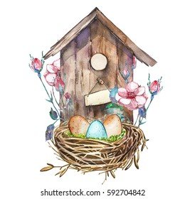 Watercolor birdhouse with Spring flowers, eggs. Hand painted nesting box isolated on white background. Easter design
