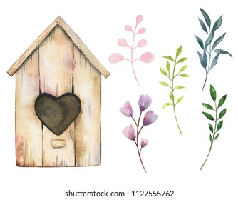 Watercolor birdhouse and spring leaves isolated on white background. Botanical illustration for your design