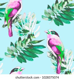 Watercolor birds and plants illustration pattern