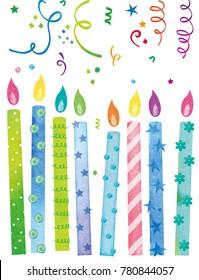Watercolor birthday cake, ribbons