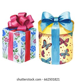Watercolor Birthday Gift Box Illustration Wrapped Stock Illustration