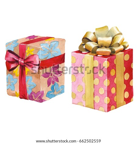 Royalty Free Stock Illustration Of Watercolor Birthday Gift Box