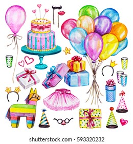 Watercolor Birthday party set. Hand drawn celebration objects: gift boxes, air balloons, cake of mastic, pinata