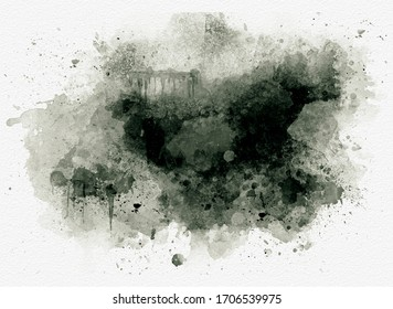 Watercolor black abstract background or texture