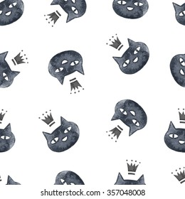 Watercolor black cat pattern. Hand drawn seamless pattern with black cats in crown.