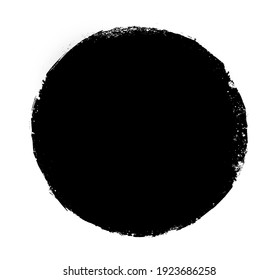 Watercolor black circle on white as background