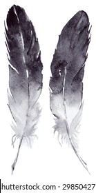 Watercolor black gray grey white feather pair boho set isolated
