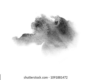 watercolor black and gray,grey texture splash isolated on white background, for text, banner, card, invitation, design for tag and label, logo, brand
