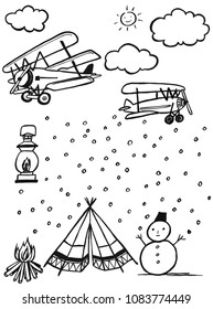 watercolor black line cloud and light aircraft, snowman, tent, lamp, campfire, sketch set isolated on white background. water black line.