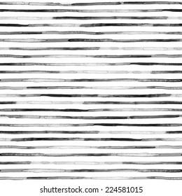 Watercolor black stripes. Seamless pattern