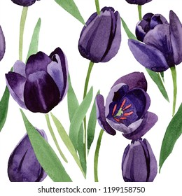 Watercolor black tulips flower. Floral botanical flower. Seamless background pattern. Fabric wallpaper print texture. Aquarelle wildflower for background, texture, wrapper pattern, frame or border.