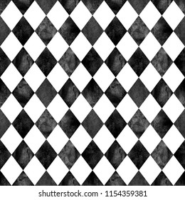 Watercolor black and white argyle seamless plaid pattern. Watercolour hand drawn texture background. Rhombus shapes background. Print for cloth design, textile, fabric, wallpaper, wrapping, tile.