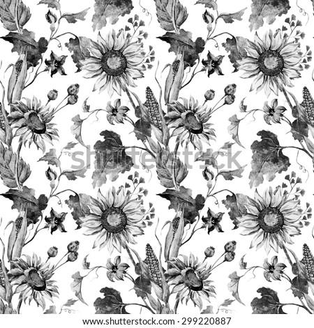 Watercolor black white autumn flowers wallpaper stock illustration watercolor black and white autumn flowers wallpaper sunflower corn pumpkin leaves seamless pattern mightylinksfo