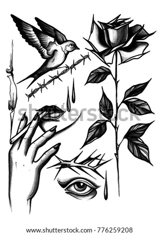 Watercolor Black White Hand Draw Tattoo Stock Illustration 776259208