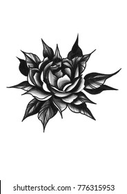 Watercolor black and white peony with leaves. Tattoo sketch in neo traditional style