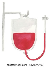 Watercolor Blood Bag Illustration