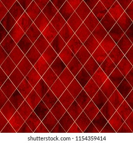 Watercolor bloody red argyle abstract plaid seamless pattern with gold glitter line contour. Watercolour hand drawn endless grunge halloween background. Print for textile, wallpaper, wrapping